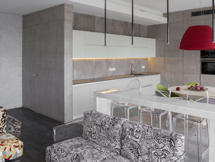 A Colorful Flat in Moscow with Contrasting Modern Counter Stools_10
